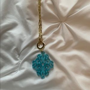 3/$20 Long gold necklace with blue piece